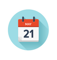 May 21 flat daily calendar icon date and vector