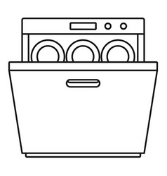 Modern dishwasher icon outline style vector