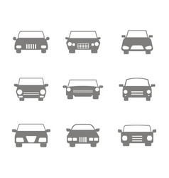 Monochrome icons set with cars vector