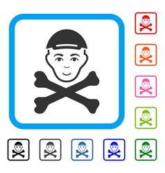 Mortal boy head framed happy icon vector
