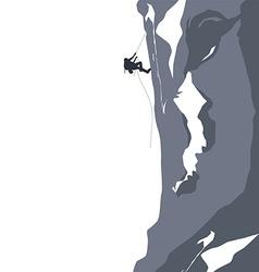 Mountain peak hiker adventurer vector
