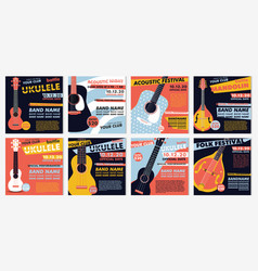 musical posters guitar and ukulele banner for the vector image
