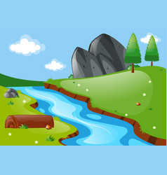 nature scene with river and field vector image