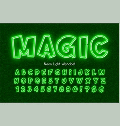 neon light 3d alphabet extra glowing comic style vector image