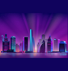 Neon megapolis background with shining sun vector