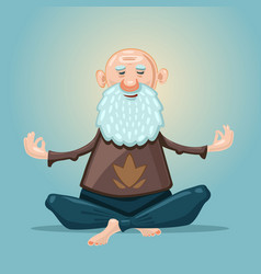 old man yoga grandfather in asana position vector image