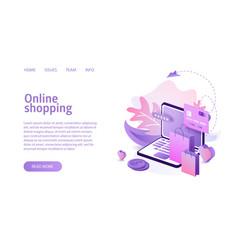 online shopping landing or e-commerce vector image