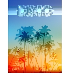 Palm silhouettes summer disco background vector