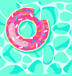 pink donut swim ring floating on water background vector image