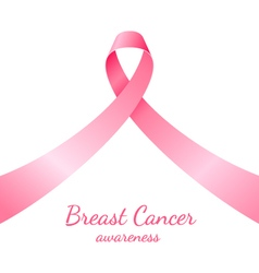 Pink ribbon breast cancer awareness symbol on vector