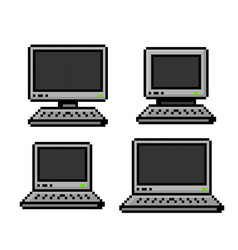 pixelated set of pcs and laptops - isolated vector image