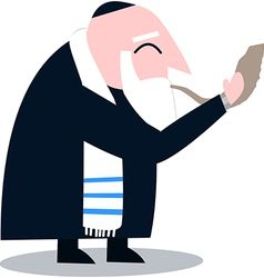 Rabbi With Talit Blows The Shofar vector image