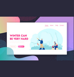 relaxing wintertime hobwebsite landing page vector image