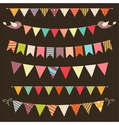Retro bunting and garland set vector image