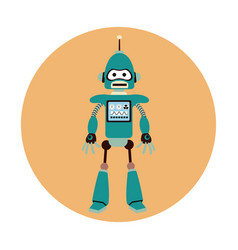 Robot machine engineer circle icon vector