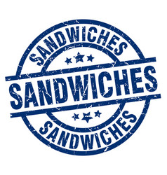 sandwiches blue round grunge stamp vector image