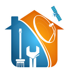 Satellite dish installation house vector