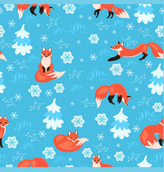 seamless pattern foxes in winter forest vector image