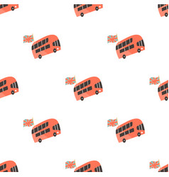 Seamless pattern with london double-decker buses vector