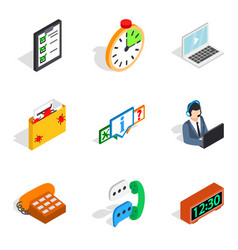 Server setting icons set isometric style vector