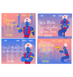 Set fantasy web banners with genie granting wishes vector