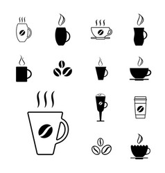 set of different coffee cup icons vector image