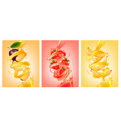 Set of labels of of fruit in juice splashes plum vector