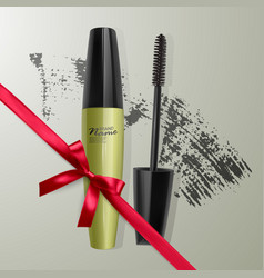 set of realistic mascara and brush stroke beauty vector image