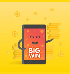 Smartphone concept of money earnings a lot vector