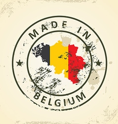Stamp with map flag of Belgium vector