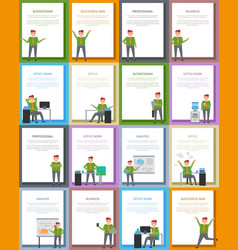 success and business related collection of posters vector image