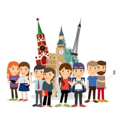Travel people taking selfie front landmarks vector image