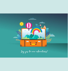 travel tourism adventure scene with open vector image