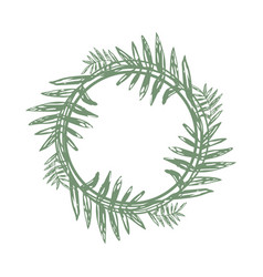 Tropical twigs in a circle and place for text vector