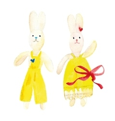 Watercolor toy bunnies vector
