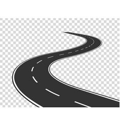 Winding road journey traffic curved highway road vector