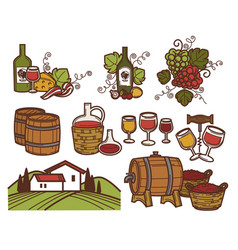 winemaking and winery bottles and glasses barrel vector image