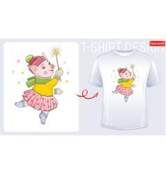 winter pig t-shirt print design cute cartoon for vector image