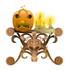 Wooden table with attributes for Halloween vector image