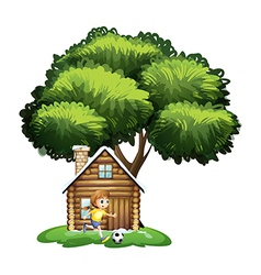 A girl playing soccer outside the house vector image vector image