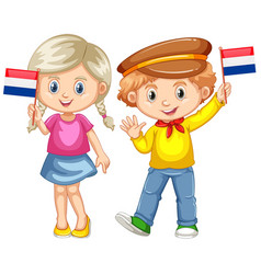 Boy and girl holding flag of netherland vector