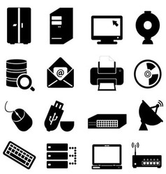 Computer and technology icon set vector image vector image