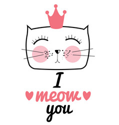 cute hand drawn cat i love vector image