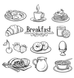 Hand drawn decorative icons breakfast vector image vector image