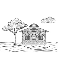 House coloring book for adults vector image vector image