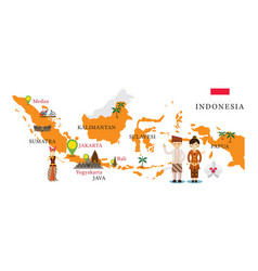 indonesia map and landmarks vector image vector image