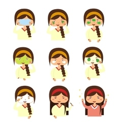 Instructions to wash face of woman vector image vector image