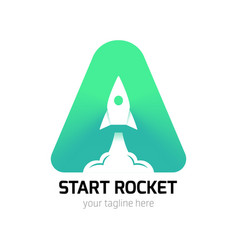 vertical start rocket logo vector image