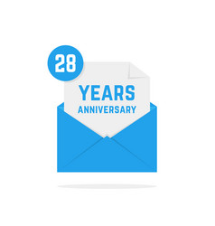 28 years anniversary icon in blue open letter vector image