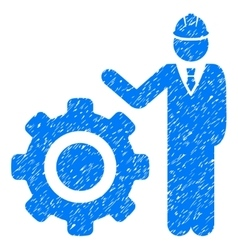Engineer With Gear Grainy Texture Icon vector image